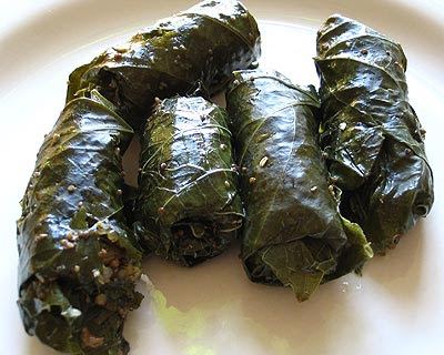 Quinoa Dolmadakia (Stuffed Grape Leaves)