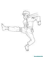 Warnai Gambar Jurus Tendangan Naruto