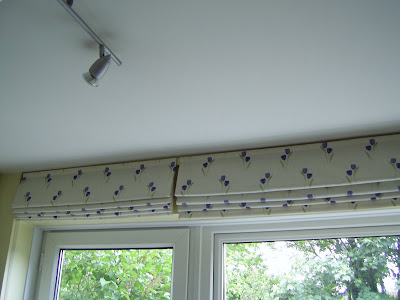 Lightly lined Roman blinds for my difficult kitchen window and adjoining door.