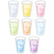 グラスに入ったいろいろな色の飲み物のイラスト