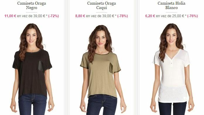 Ejemplos de camisetas de manga corta disponibles dentro.