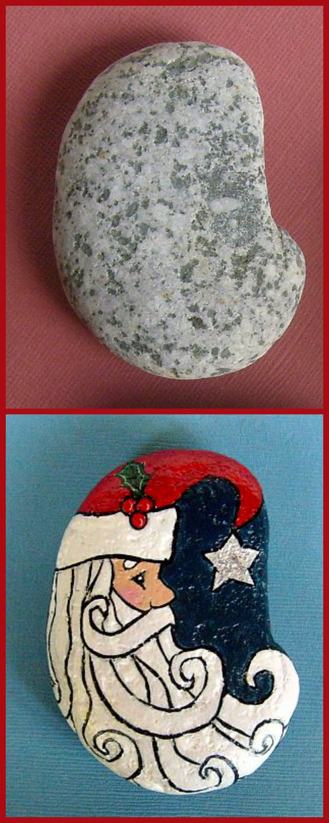 a kidney shaped stone worked well for painting father christmas