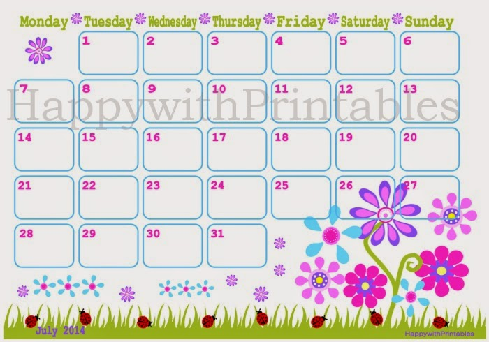 July calendar Happy with Printables http://www.etsy.com/nl/shop/HappywithPrintables
