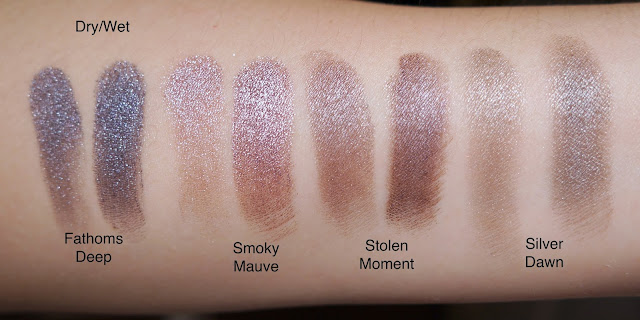 MAC fathoms deep smoky mauve stolen moment silver dawn extra dimension swatches