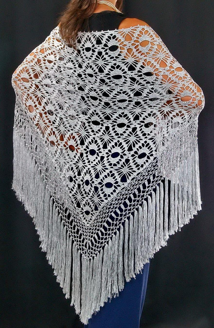 Crochet Patterns For Shawls : ... : Crochet Shawl - Elegant Silver Silk Shawl - Free Crochet Pattern