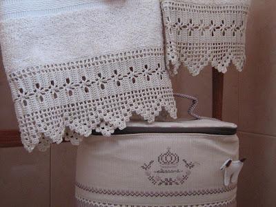 Semplicemente ketti asciugamani con bordure for Schemi pizzi uncinetto