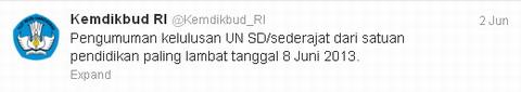 Pengumuman Kelulusan UN SD 2013