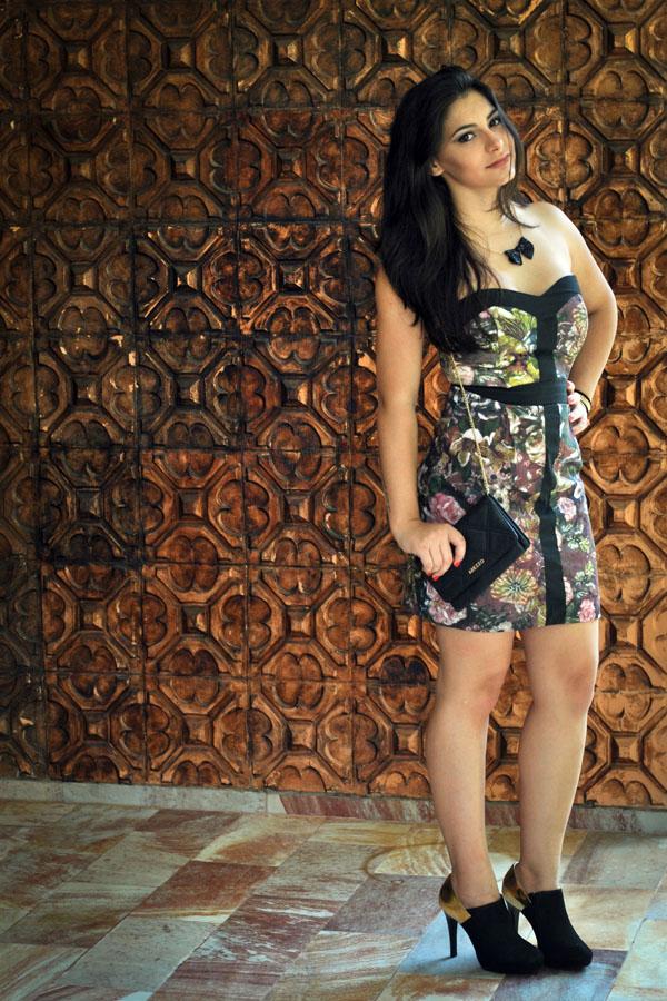 Bárbara Urias - Look floral inverno - ankle boot - Evra - estampa - vestido curto