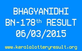 BHAGYANIDHI BN 178 Lottery Result 6-3-2015