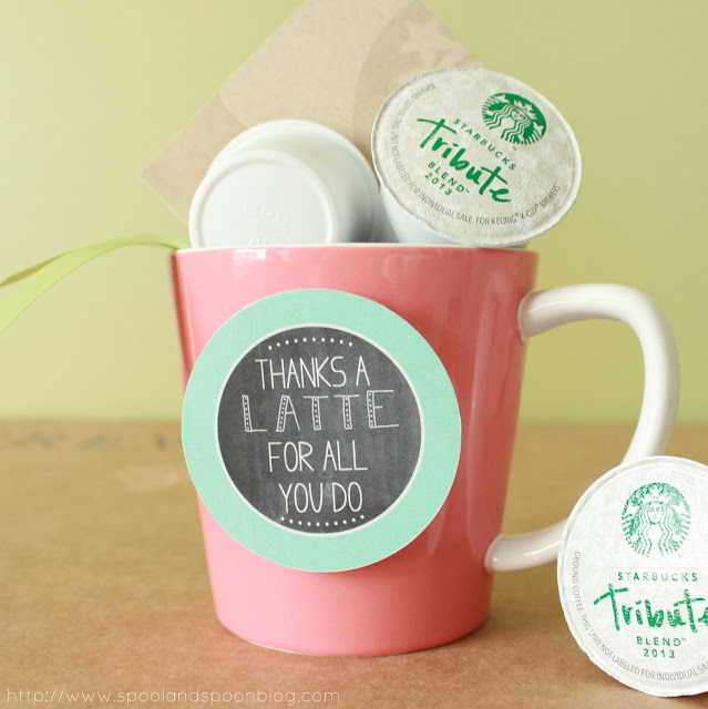 "Teacher Appreciation Gift Tag Printable ""Thanks a LATTE for all you do"" by www.spoolandspoonblog.com"