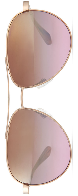 Barton Perreira Universal Fit Lovitt Mirror Aviator Sunglasses, Rose Golden