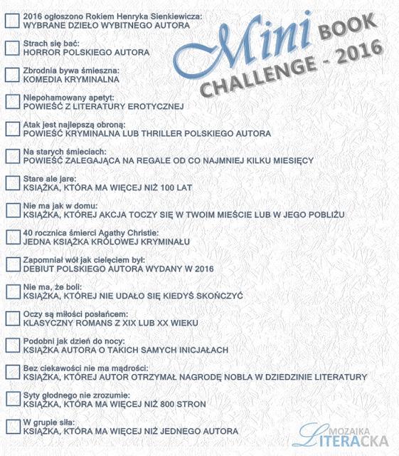 MINI BOOK CHALLENGE 2016 | Wyzwanie czytelnicze na blogu Mozaika Literacka - zapraszam wszystkich chętnych do udziału :)