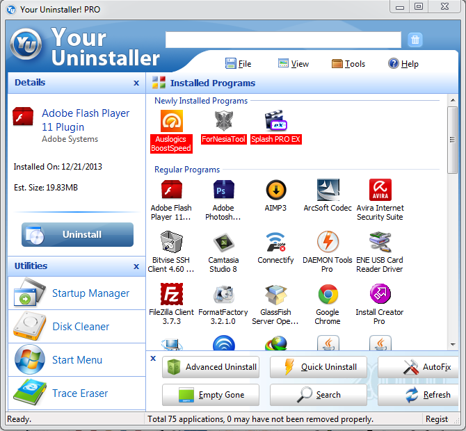 Screenshot Software Your Uninstaller pro