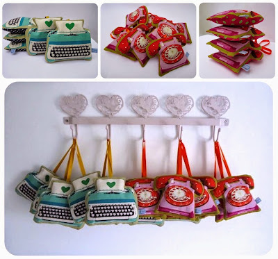 Old fashioned typewriter and telephone lavender bags