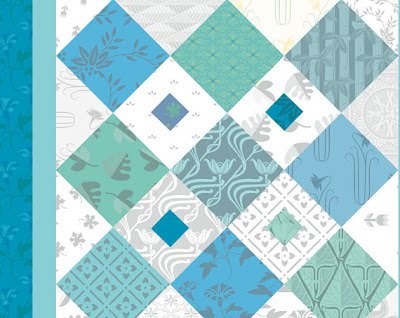 close up blue and green digital quilt poster