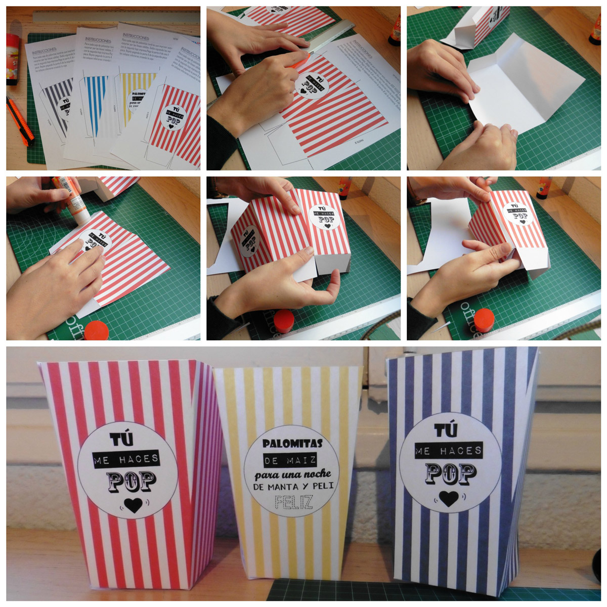 popcorn box step by step caja palomitas paso a paso