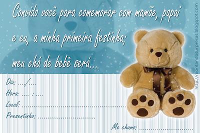 Convite Chá de bebê gratuito - Ursinho marron