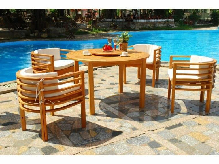 Round Garden Table and chairs,Round wooden Garden Table