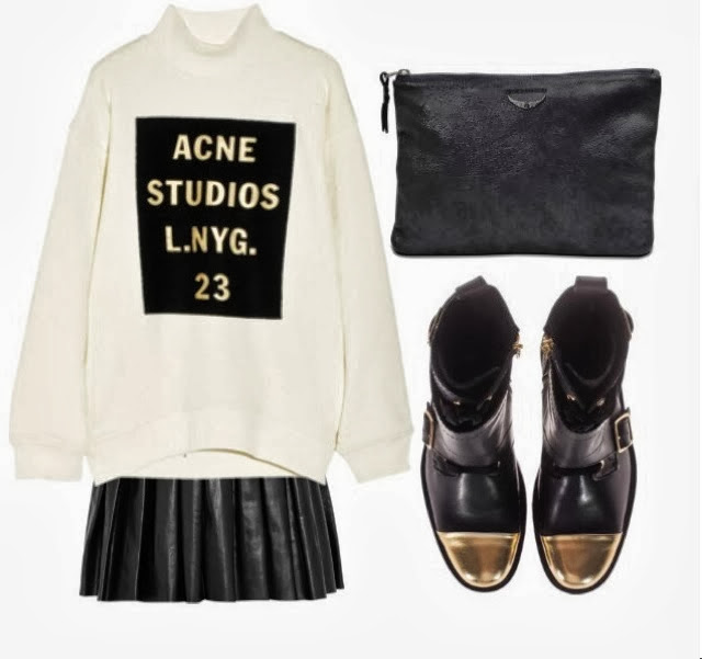 Acne cotton Sweatshirt, Alice+Olivia Pleated leather mini skirt, Zadig and Voltaire clutch, Zadig and Voltaire dore black cap toe lace up Boots, Modedesign