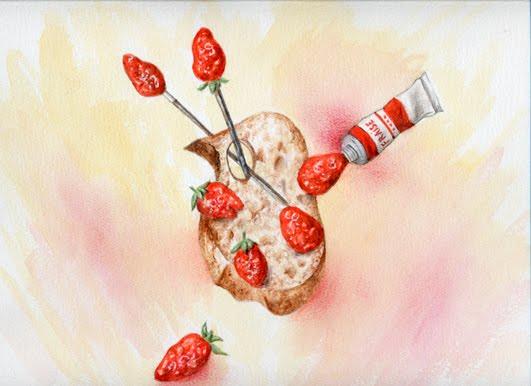 Palette du peintre aux fruits rouges