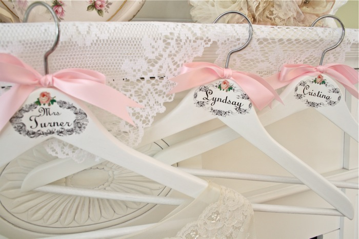 The polka dot closet wedding hangers for the bride and for Wedding dress hangers with name