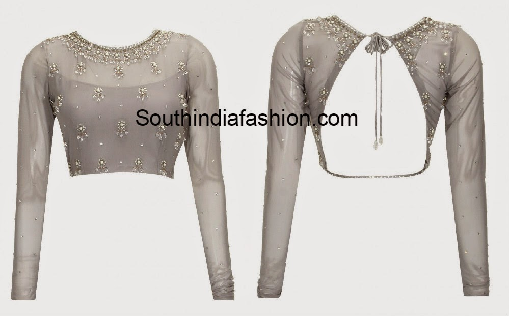 backless net blouse designs
