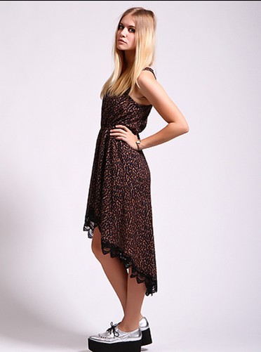 cute brown high low prom dress