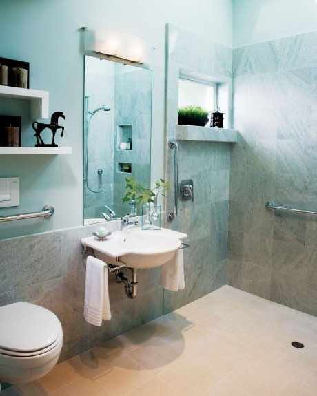 Ada universal home design vs handicap accessible home for Pictures of handicap bathrooms