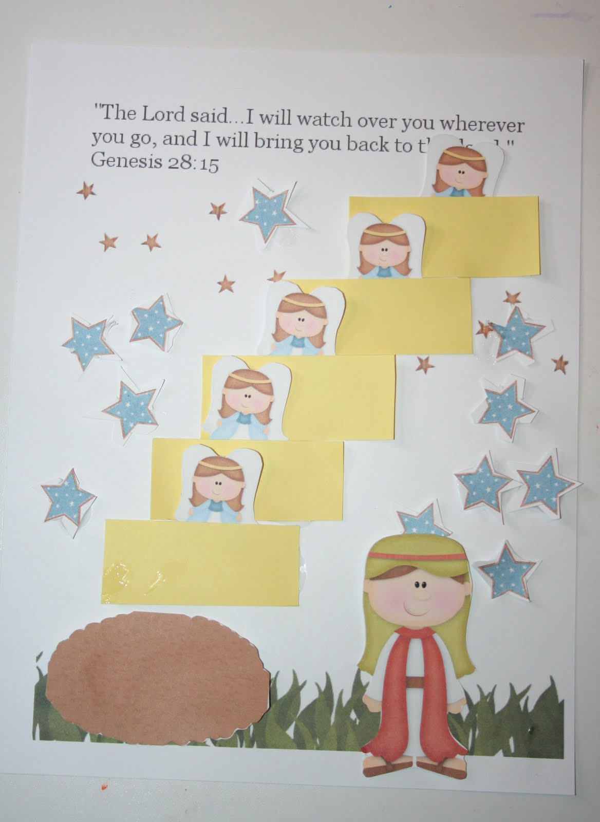 Jacob's Ladder Craft http://ourcountryroad.blogspot.com/2011/07/bible-activity-book-jacobs-ladder-free.html