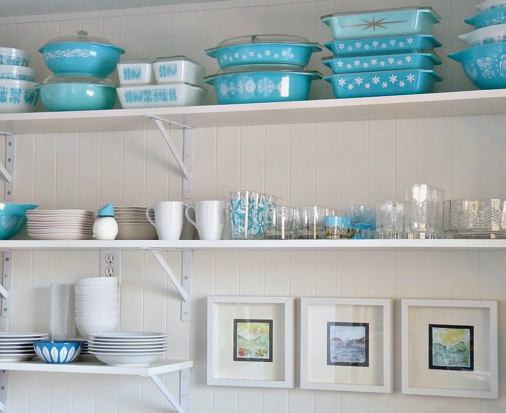 Open Shelving with Aqua Pyrex Collection