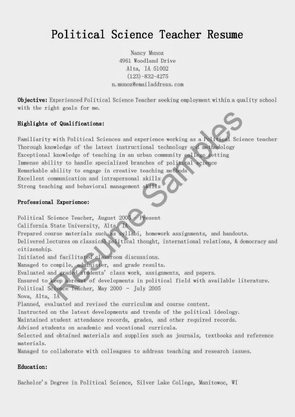 resume sles political science resume sle
