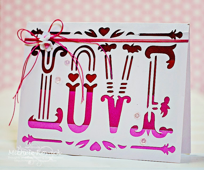Ombre Cricut card using Simple Holiday Cards for Valentine's Day.