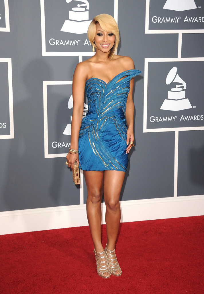 Keri Hilson in an electric blue strapless Basil Soda couture mini dress from the Fall 2010 Couture collection which had gold zipper detailing at The 53rd Annual GRAMMY Awards held at Staples Center on February 13, 2011 in Los Angeles, California.