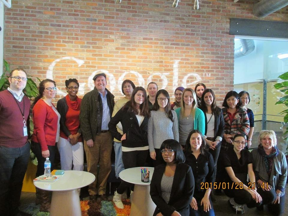 Photo of Chatham business student visit to the Pittsburgh Google office with Dr. Chung in February 2015.