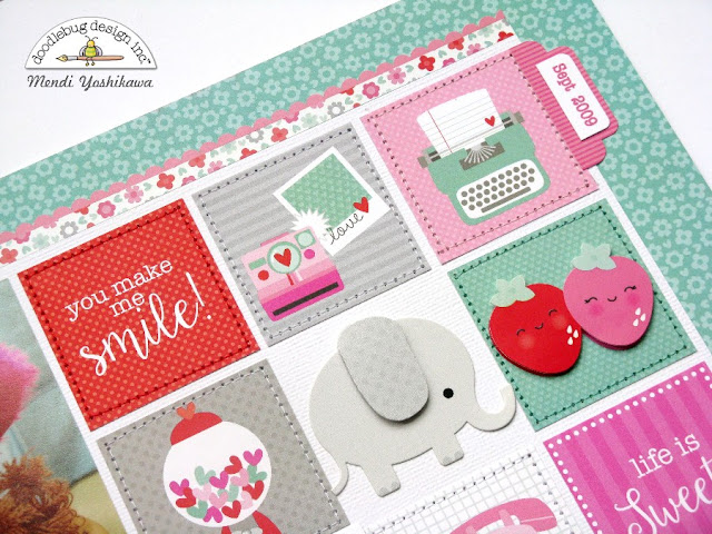 Doodlebug Sweet Things Valentine's Day Scrapbook Layout by Mendi Yoshikawa