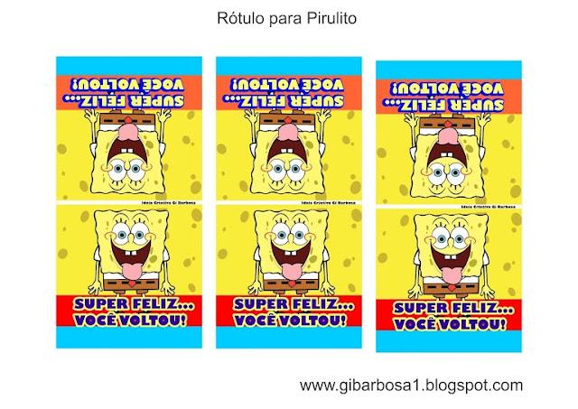 Pirulito Personalizado Bob Esponja Rótulo para Imprimir Grátis
