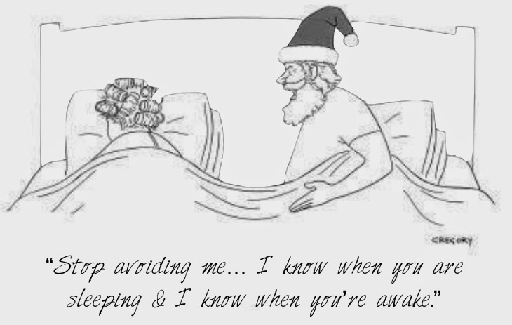 Santa in bed with his wife, saying stop avoiding me, I know when you're sleeping and I know when you're awake