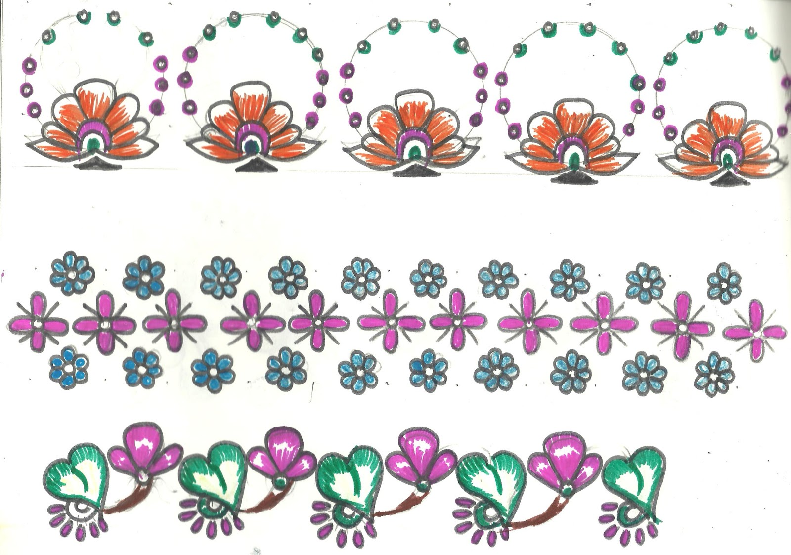 Embroidery Designs for Sarees Border http://artcraftetc.blogspot.com/2012/04/border-designs-for-saree-table-cloth.html