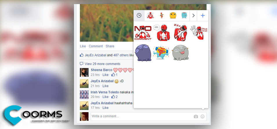 Facebook enables to Comment Stickers