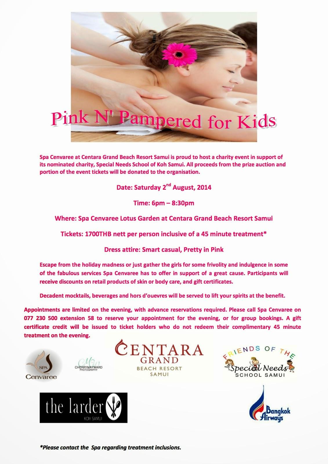 Pink N' Pampered for Kids, Koh Samui Charity event held at Centara Grand Beach Resort Samui, Charities in Thailand, upcoming Charity evening on Koh Samui