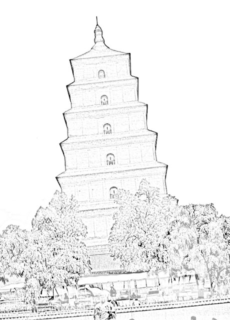 sketch of Buddhist temple building:  /></a></div> <br /> This is a sketch of a building one sees on the way to the Great Wall in China.<br /> <div class=