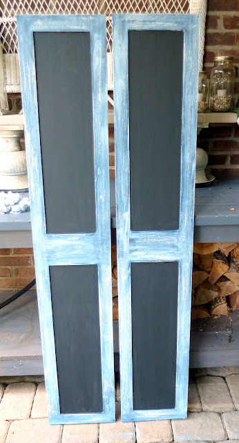 repurposed cabinet doors into chalkboard shutters