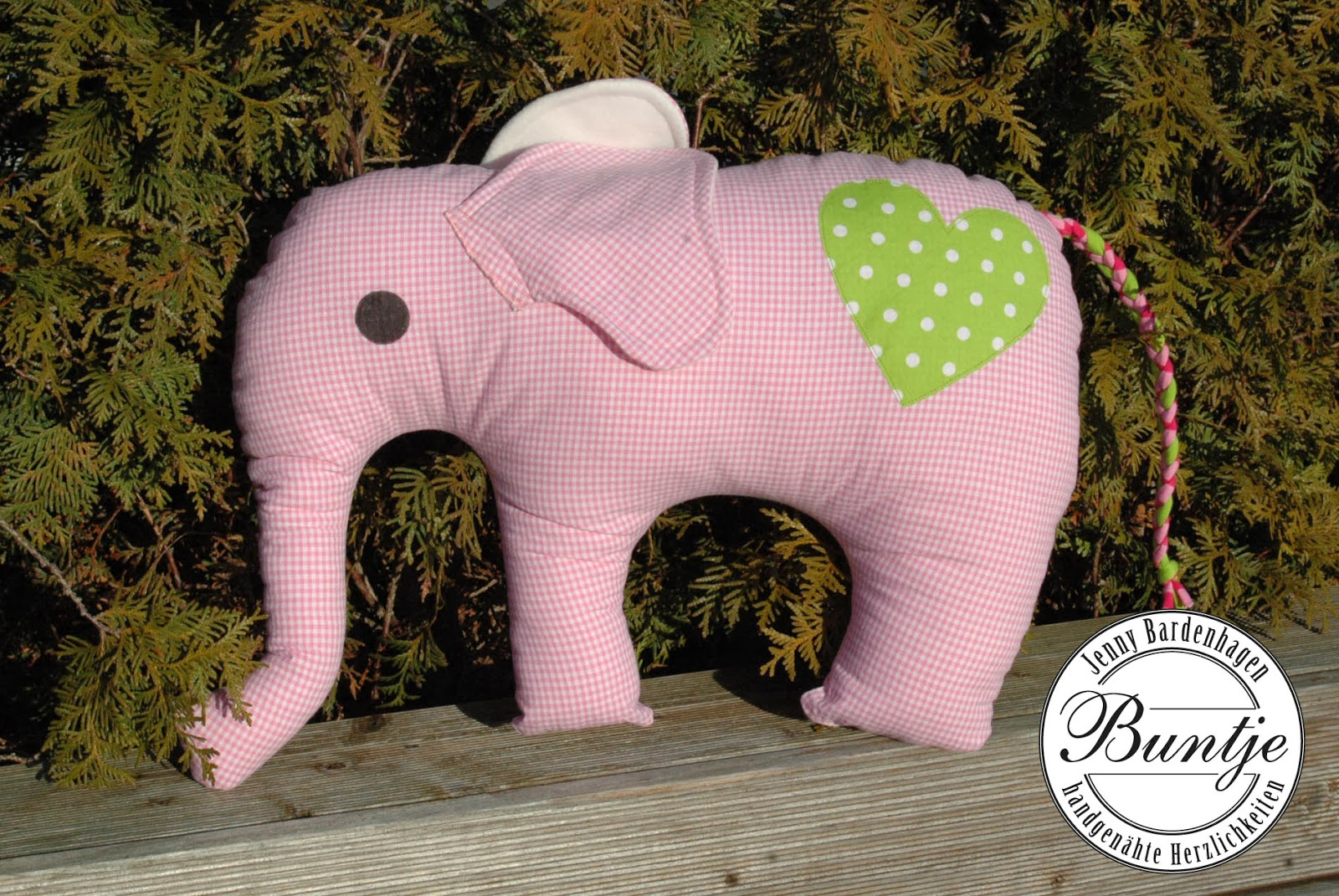 Kuscheltier Kuschel Elefant Geschenk Geburt Taufe Mädchen Baumwolle rosa grün individuell Farbenmix Elefantös nähen Buntje