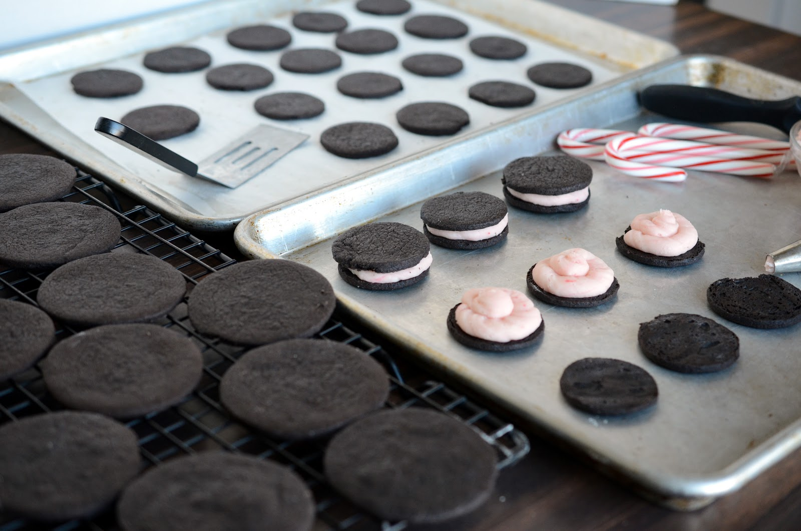 Homemade Oreos with a Candy Cane Cream Filling