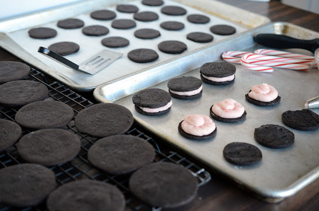 Homemade Oreos With A Candy Cane Cream Filling Oreo Cookie Recipe