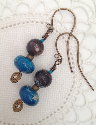 wirework and bead earrings  by Karen Williams
