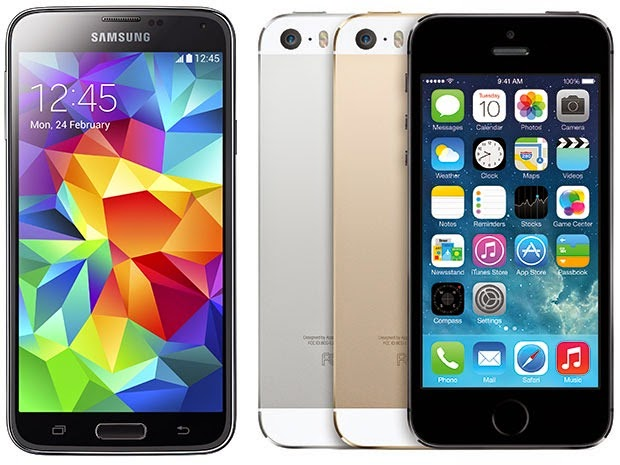 Samsung Galaxy S5 against iPhone 5s competition
