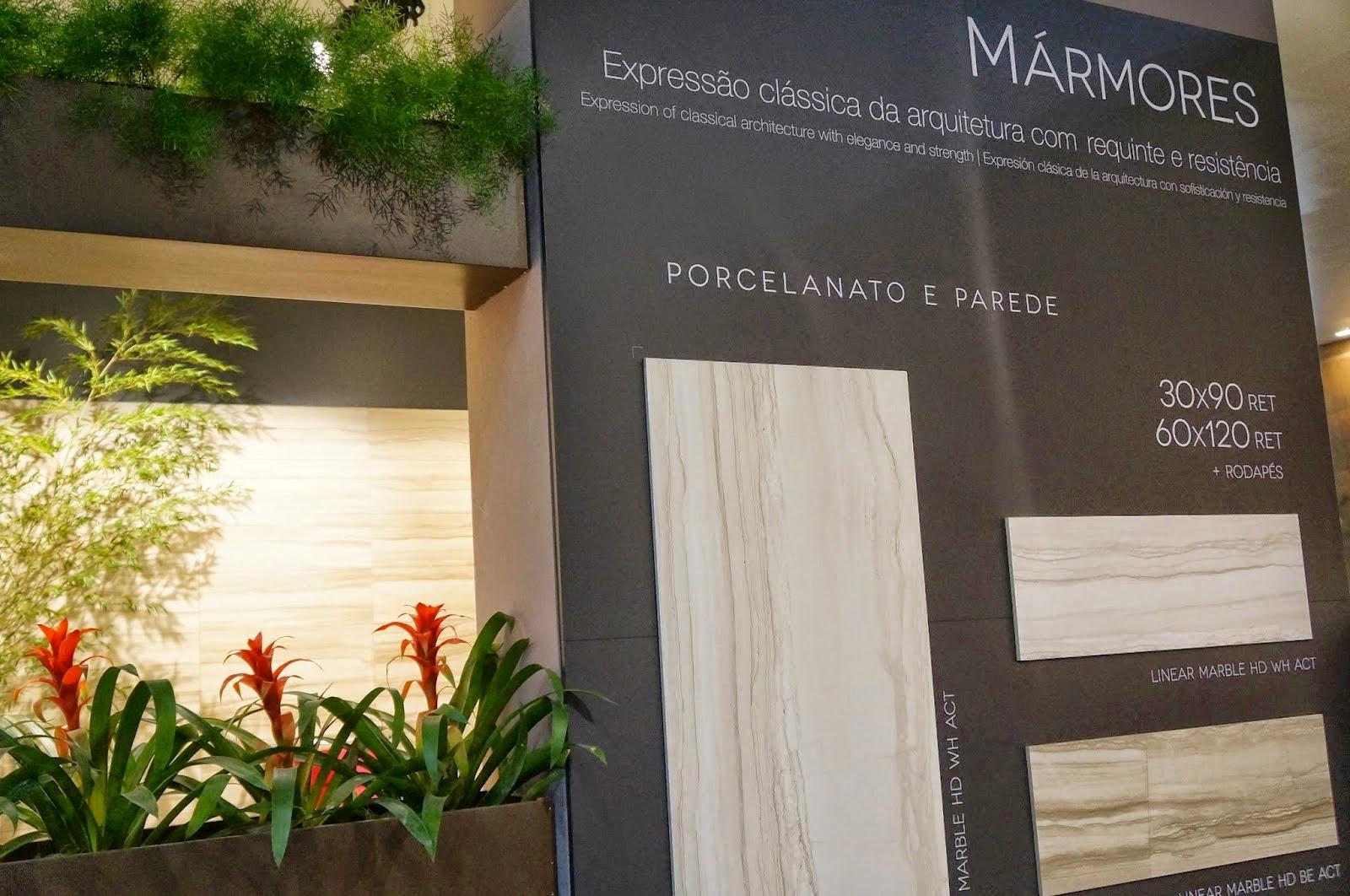 porcelanato imitando o clássico mármore da Portinari - Expo Revestir 2014