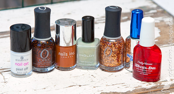 Inglot #981 + Nails inc. Fenchurch Street + Orly So Go-Diva + Orly Watch It Glitter