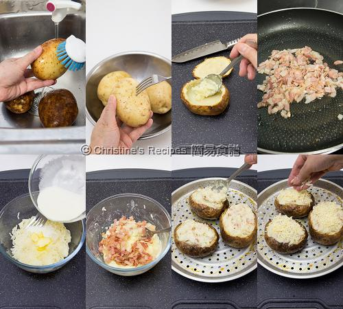 二焗馬鈴薯製作圖 How To Make Twice Baked Potatoes